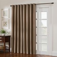 Antique Satin 84-Inch Double Width Room-Darkening Grommet Top Window Curtain Panel in Linen