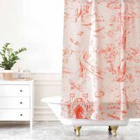 DENY Designs Pattern State Adventure Toile Dawn Shower Curtain in Orange