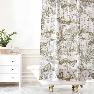 DENY Designs Rachelle Roberts Farm Land Toile Shower Curtain In Vintage Green