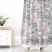 Deny Designs Paris Toile Shower Curtain In Sugar Pink