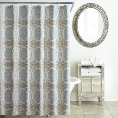 Exceptional Waterford® Jonet Shower Curtain In Cream/Aqua