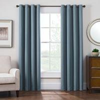 Antique Satin 84-Inch Room-Darkening Grommet Top Window Curtain Panel in Blue