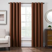 Antique Satin 95-Inch Room-Darkening Grommet Top Window Curtain Panel in Rust