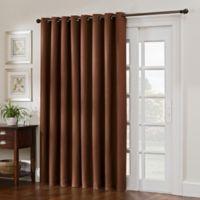 Antique Satin 84-Inch Double Width Room-Darkening Grommet Top Window Curtain Panel in Rust