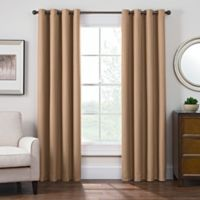 Antique Satin 108-Inch Room-Darkening Grommet Top Window Curtain Panel in Honey