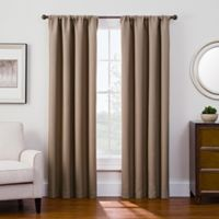Antique Satin 63-Inch Room-Darkening Rod Pocket Window Curtain Panel in Linen
