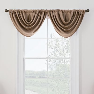 antique satin rod pocket window valance in linen - Valances For Living Room