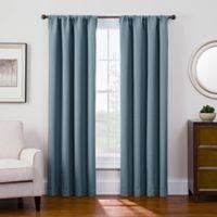 Antique Satin 84-Inch Room-Darkening Rod Pocket Window Curtain Panel in Blue