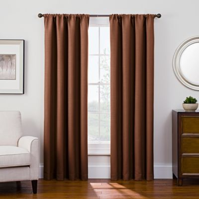 Antique Satin 95 Inch Room Darkening Rod Pocket Window Curtain Panel In Rust