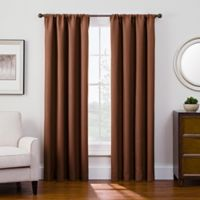Antique Satin 95-Inch Room-Darkening Rod Pocket Window Curtain Panel in Rust
