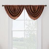 Antique Satin Room-Darkening Rod Pocket Window Valance in Rust
