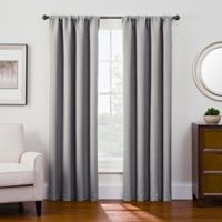 Antique Satin 95-Inch Room-Darkening Rod Pocket Window Curtain Panel in Grey