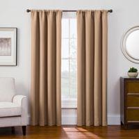 Antique Satin 108-Inch Room-Darkening Rod Pocket Window Curtain Panel in Honey
