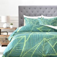 DENY Designs A Lime Leaves King Duvet Cover in Green