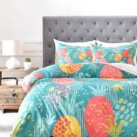 DENY Designs ZW Day Pineapple King Duvet Cover in Green