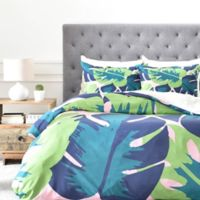 DENY Designs Zoe Wodarz Patio Party King Duvet Cover in Green