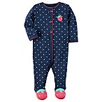 carter's® Size 3M Snap-Front Strawberry Footie in Navy
