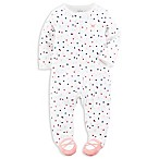 carter's® Newborn Zip-Front Confetti Dot Footie in White