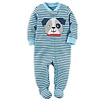 carter's® Newborn Zip-Front Bulldog Stripe Footie in Blue