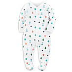 carter's® Size 3M Snap-Front Monster Footie in White