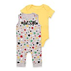Baby Starters® Size 9M #Awesome Puff Print Overall and Bodysuit Set in Yellow/Grey