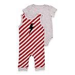 Baby Starters® Size 9M 2-Piece Lightning Bolt Stripe Overall and Bodysuit Set in Red/Grey