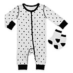 Boppy® Size 3M 2-Piece Triangle Print Coverall and Sock Set in White/Black