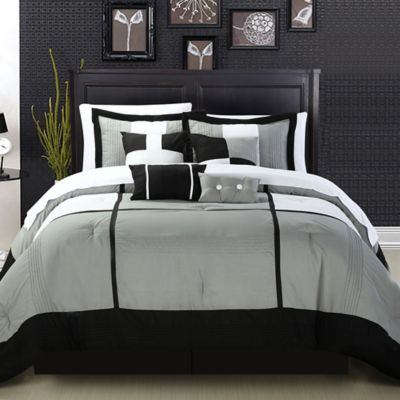 Chic Home Dorby King 12-Piece Comforter Set in Black
