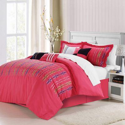 chic home sandra 12piece queen comforter set in fuchsia - Queen Bed Comforter Sets
