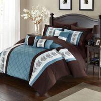 Chic Home Adam 10-Piece Queen Comforter Set in Brown