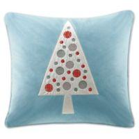 Madison Park Velvet Tree Square Throw Pillow in Blue