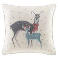 Madison Park Winter Wonderland Deer Square Throw Pillow in Ivory