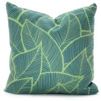 DENY Designs A Lime Leaves 18-Inch Square Throw Pillow in Green