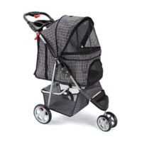 OxGord® Pet Jogger Stroller in Blue Plaid