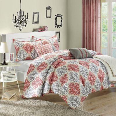 Chic Home Venetian 10 Piece Reversible King Comforter Set In Red
