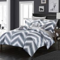 Chic Home Nalanie 10-Piece Reversible King Comforter Set in Grey