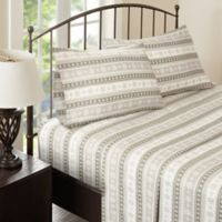 Woolrich Nordic Snowflake Flannel Queen Sheet Set in Tan