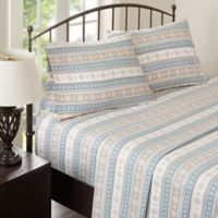 Woolrich Nordic Snowflake Flannel King Sheet Set in Blue