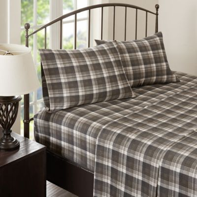 woolrich tasha flannel king sheet set in brown