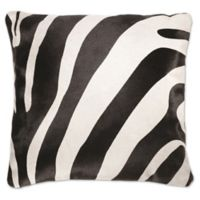 Torino Togo Square Zebra Print Cowhide Throw Pillow in Black/White