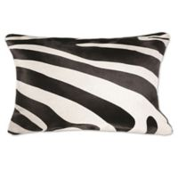 Torino Togo Rectangular Zebra Print Cowhide Throw Pillow in Black/White