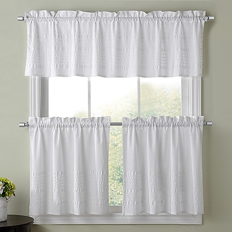 Sophia Kitchen Window Curtain Tier Pair And Valance Collection In White Bed Bath Beyond
