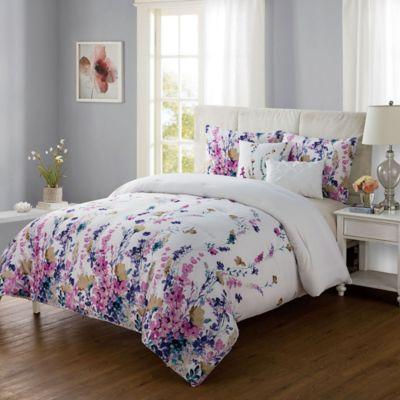 Buy white flower comforter from bed bath beyond vcny misha 5 piece king comforter set in whitepurple mightylinksfo