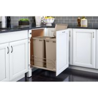 Rev-A-Shelf® Double 50 qt. Pull-Out Champagne Waste Container with Soft-Close Slides