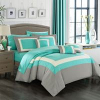 Chic Home Dylan 10-Piece King Comforter Set in Turquoise