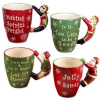 Certified International 3D Handle Novelty Christmas Mugs (Set of 4)
