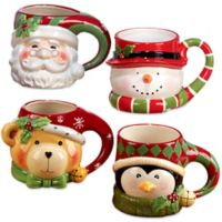 Certified International 3D Figurine Novelty Christmas Mugs (St of 4)