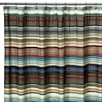 Retro Chic Blue Fabric Shower Curtain