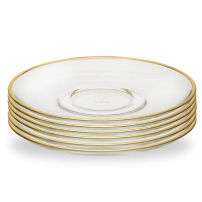 Classic Touch Gold Rim Glass Plate (Set of 6)  sc 1 st  Bed Bath u0026 Beyond & Buy Gold Rimmed Plates from Bed Bath u0026 Beyond