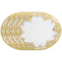 Classic Touch Gold Artwork Round Plate (Set of 4)